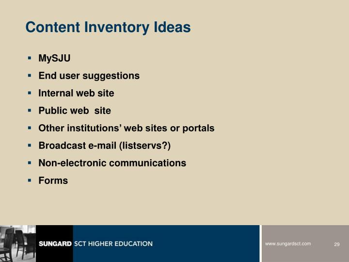 Content Inventory Ideas
