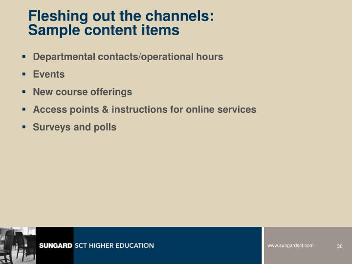 Fleshing out the channels: