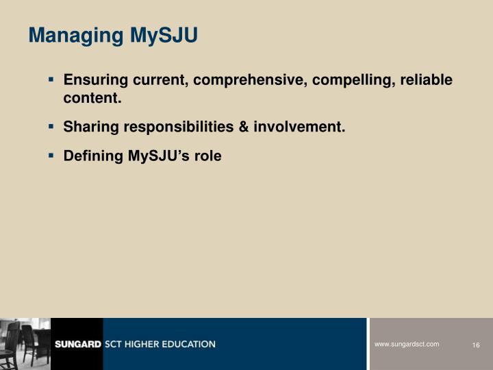 Managing MySJU
