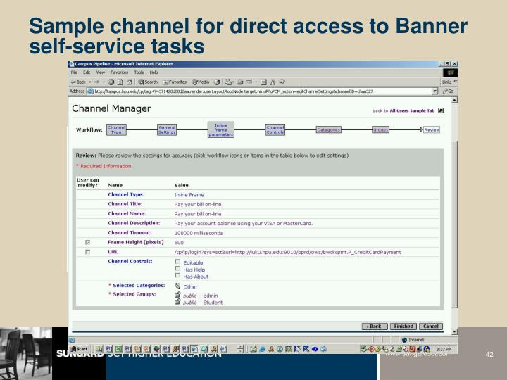 Sample channel for direct access to Banner self-service tasks
