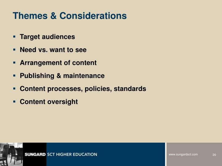 Themes & Considerations