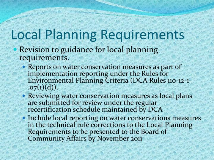 Local Planning Requirements