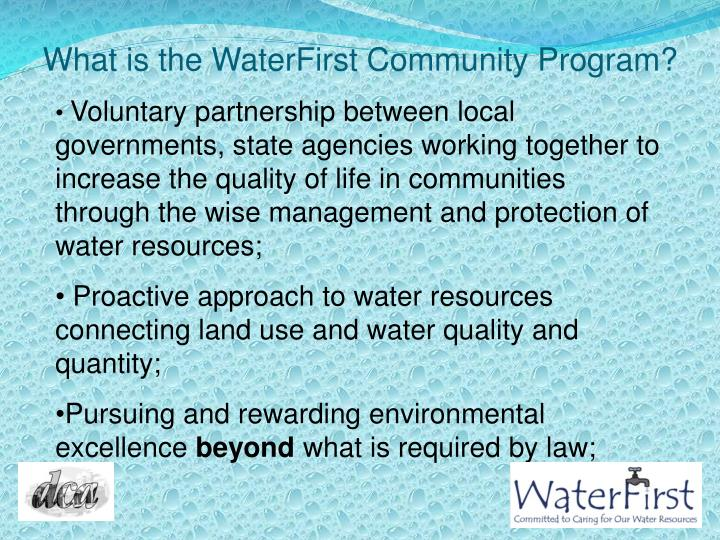 What is the WaterFirst Community Program?