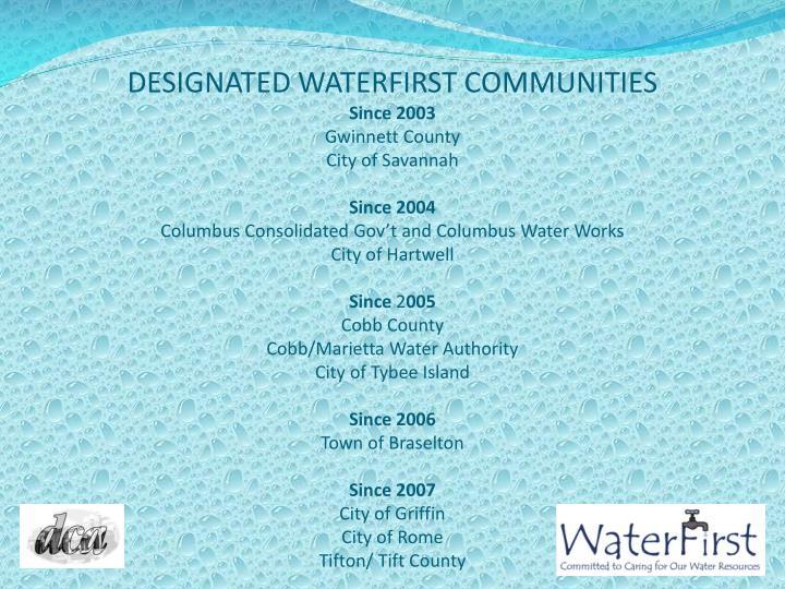 DESIGNATED WATERFIRST COMMUNITIES