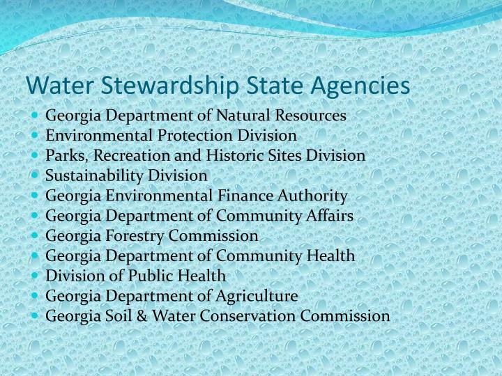 Water Stewardship State Agencies