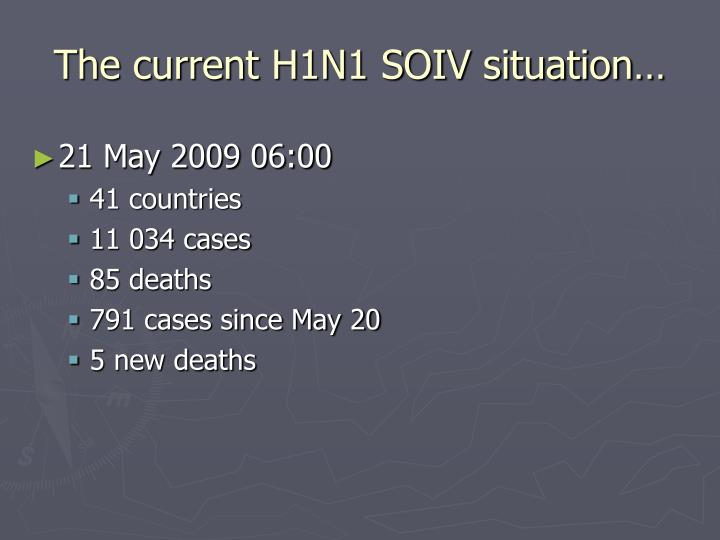 The current H1N1 SOIV situation…