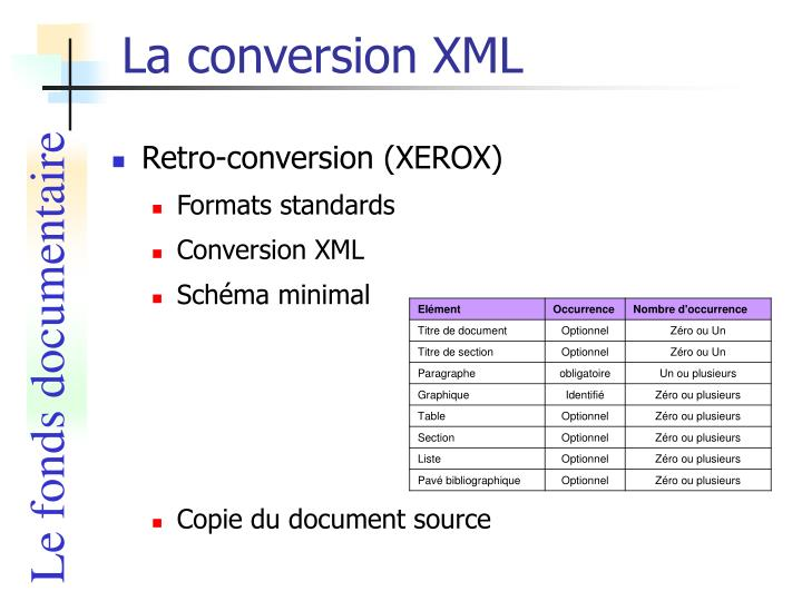 La conversion XML