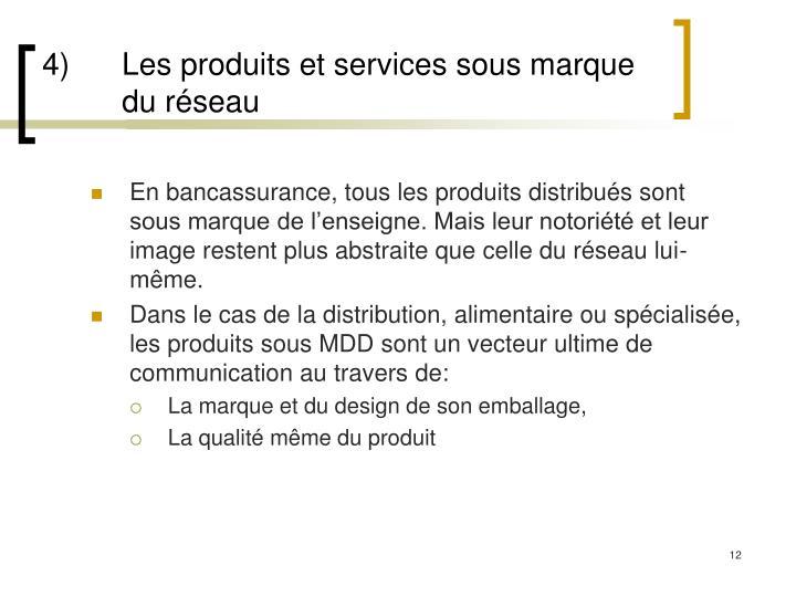 4) Les produits et services sous marque du réseau