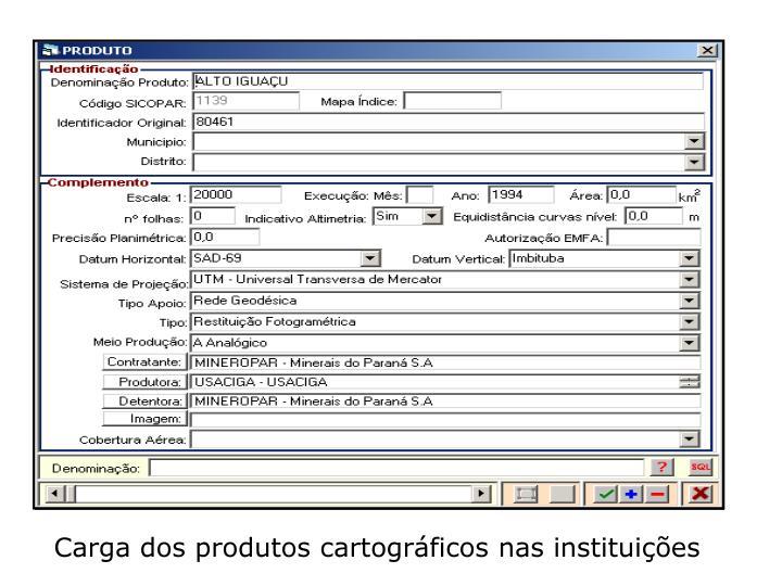 Carga dos produtos cartográficos nas instituições