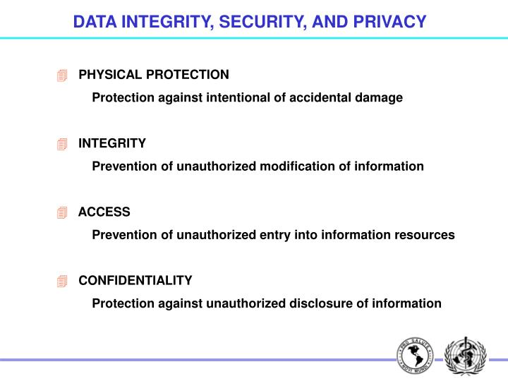 DATA INTEGRITY, SECURITY, AND PRIVACY