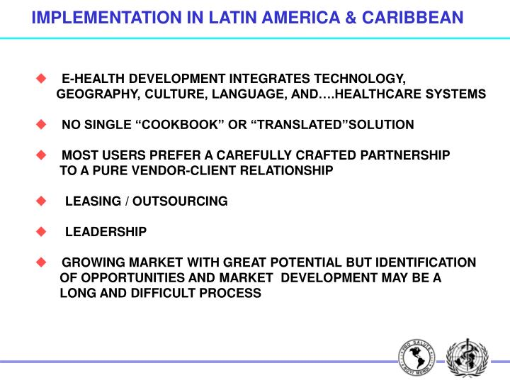 IMPLEMENTATION IN LATIN AMERICA & CARIBBEAN