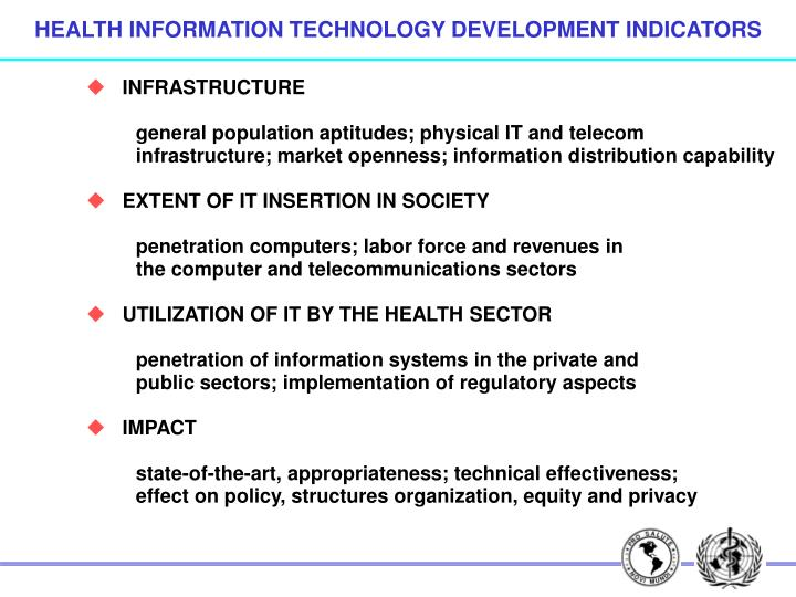 HEALTH INFORMATION TECHNOLOGY DEVELOPMENT INDICATORS