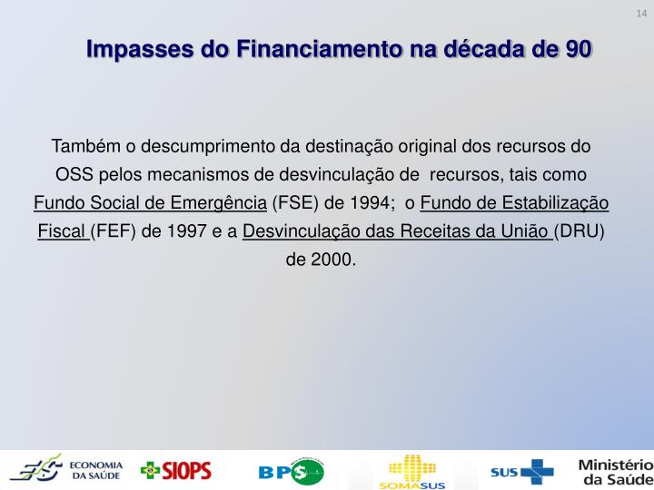 Impasses do Financiamento na década de 90