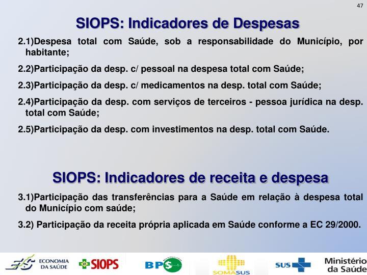 SIOPS: Indicadores de Despesas