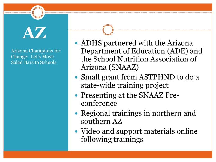 ADHS partnered with the Arizona Department of Education (ADE) and the School Nutrition Association of Arizona (SNAAZ)