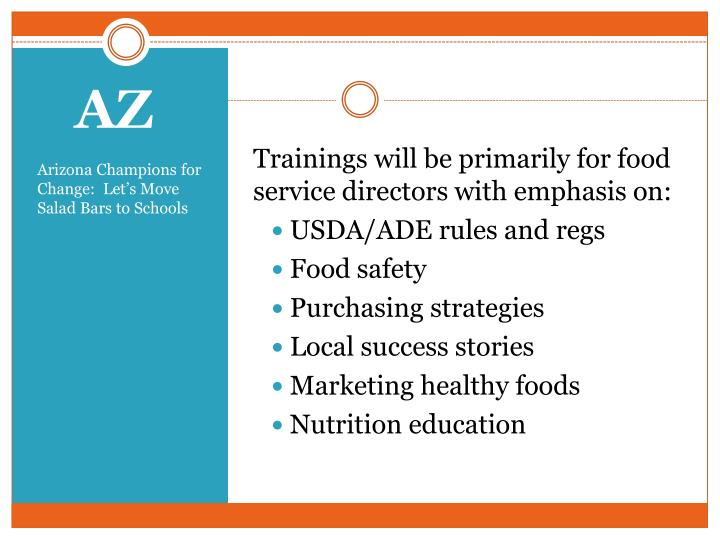 Trainings will be primarily for food service directors with emphasis on: