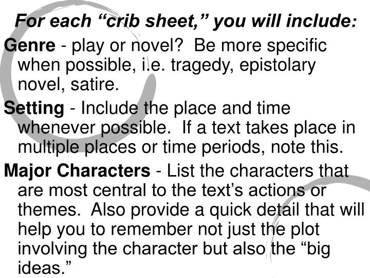 """For each """"crib sheet,"""" you will include"""