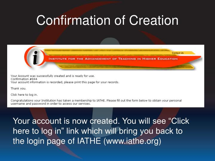 Confirmation of Creation