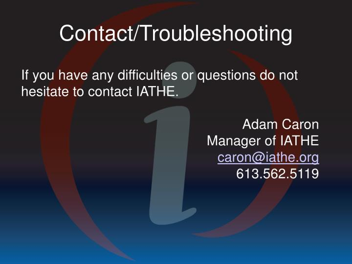 Contact/Troubleshooting