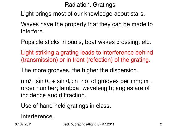 Radiation, Gratings