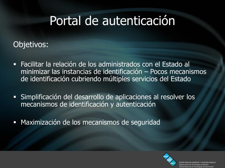Portal de autenticación