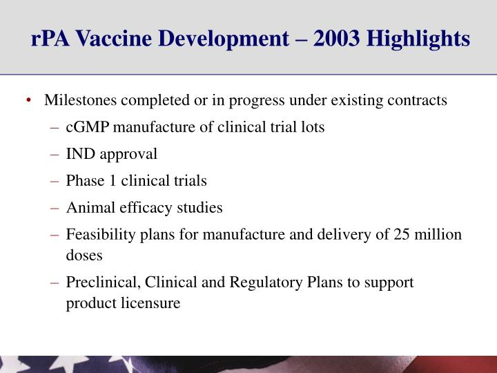 rPA Vaccine Development – 2003 Highlights