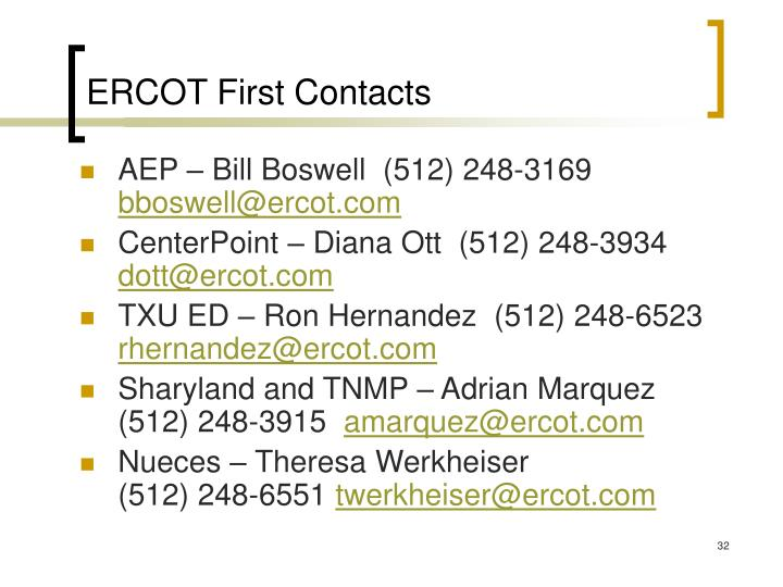 ERCOT First Contacts