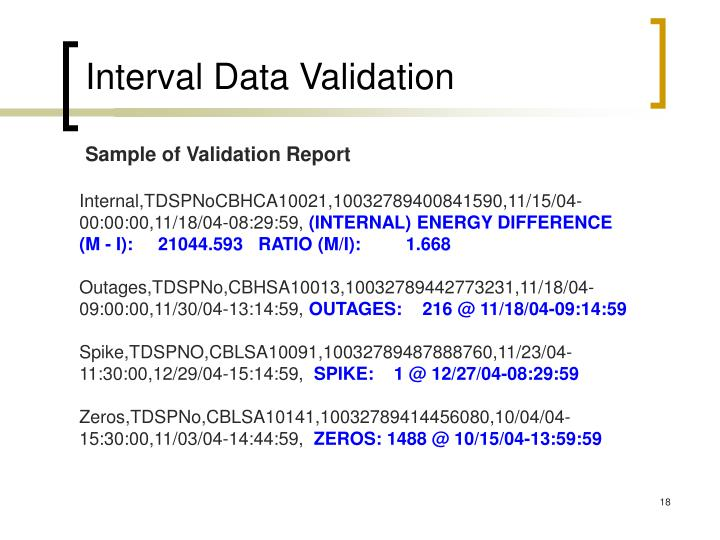 Interval Data Validation