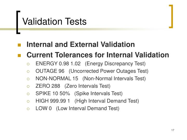 Validation Tests