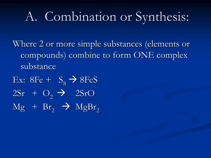 A.  Combination or Synthesis: