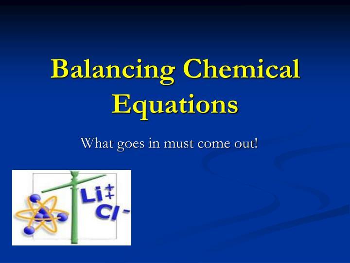 Balancing Chemical Equations