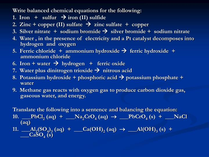 Write balanced chemical equations for the following: