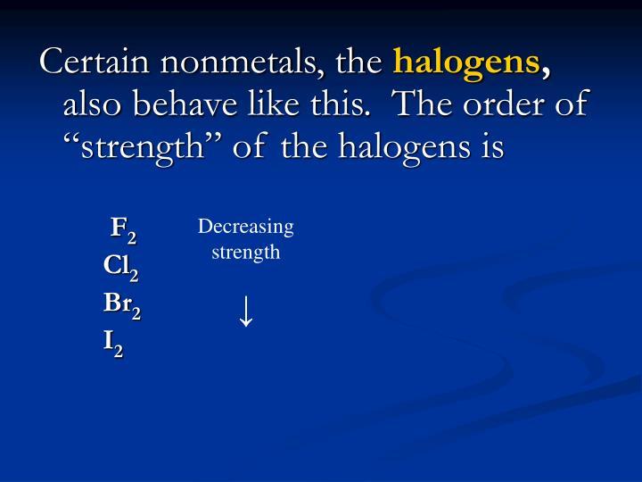 Certain nonmetals, the