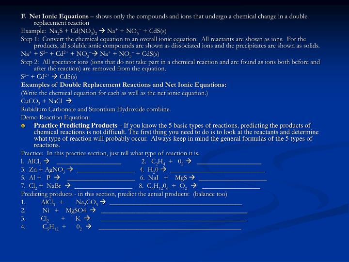 F.  Net Ionic Equations