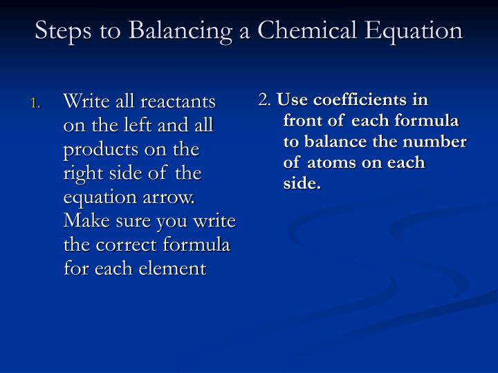 Write all reactants on the left and all products on the right side of the equation arrow. Make sure you write the correct formula for each element