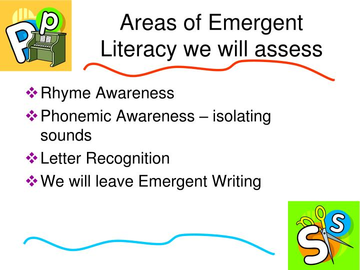 Areas of Emergent Literacy we will assess