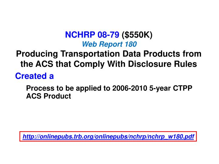 NCHRP 08-79