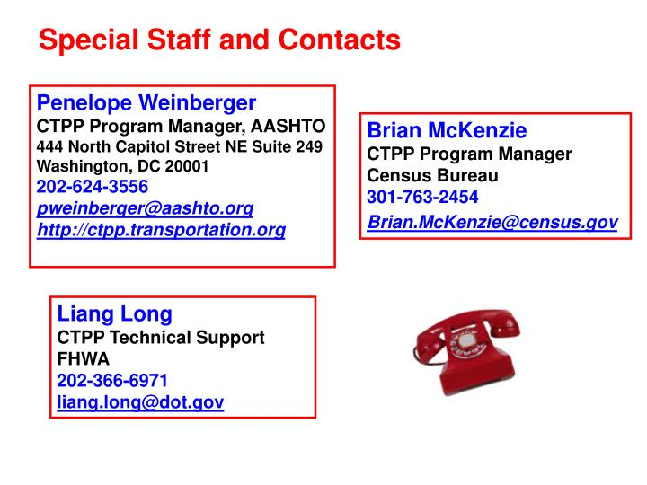 Special Staff and Contacts