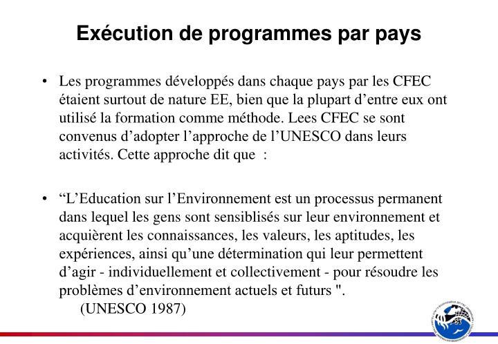 Exécution de programmes par pays