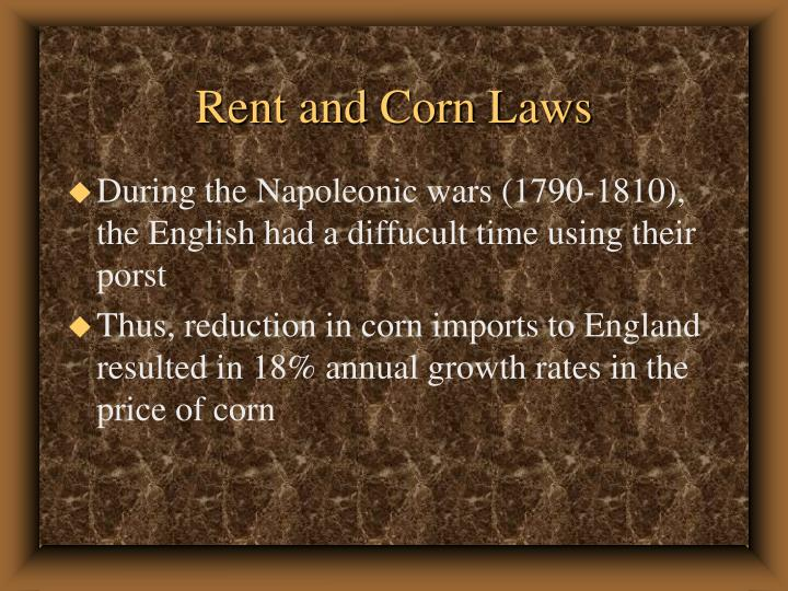 Rent and Corn Laws