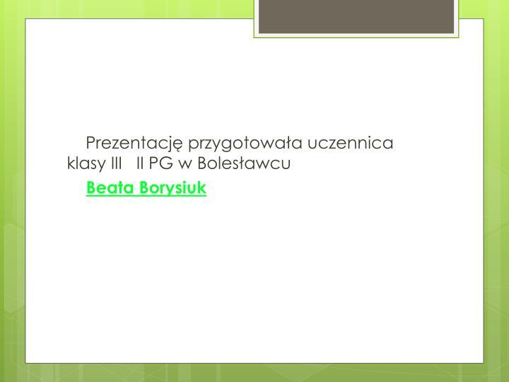 Prezentację przygotowała uczennica klasy III   II PG w Bolesławcu