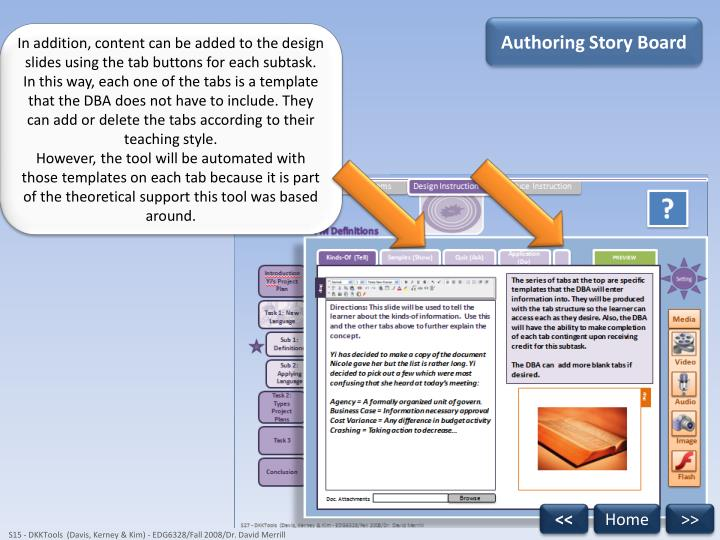 Authoring Story Board