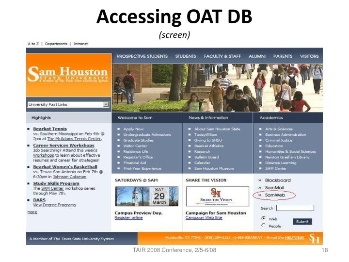 Accessing OAT DB