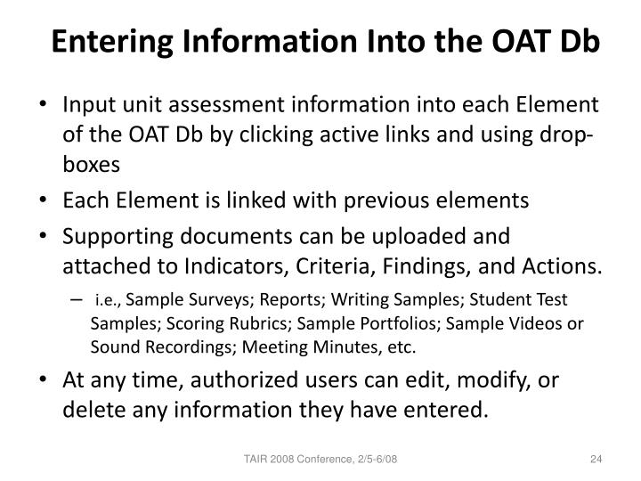 Entering Information Into the OAT Db