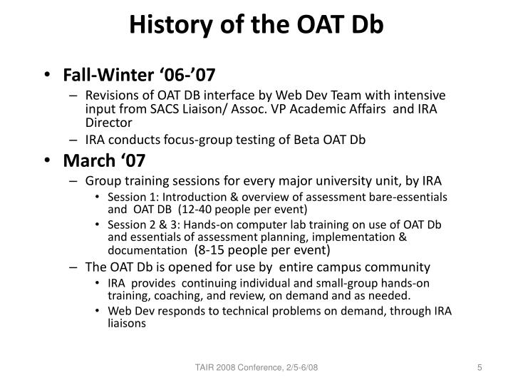 History of the OAT Db