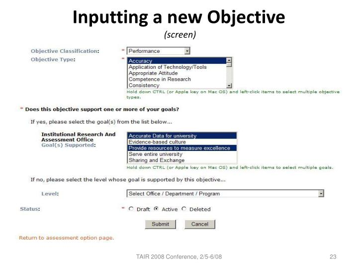 Inputting a new Objective