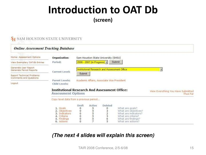 Introduction to OAT Db