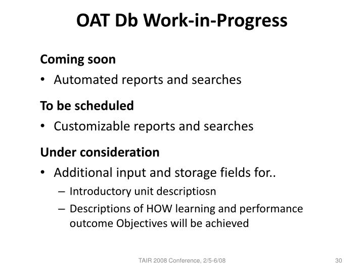 OAT Db Work-in-Progress