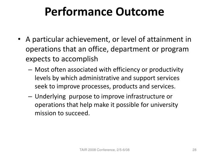 Performance Outcome