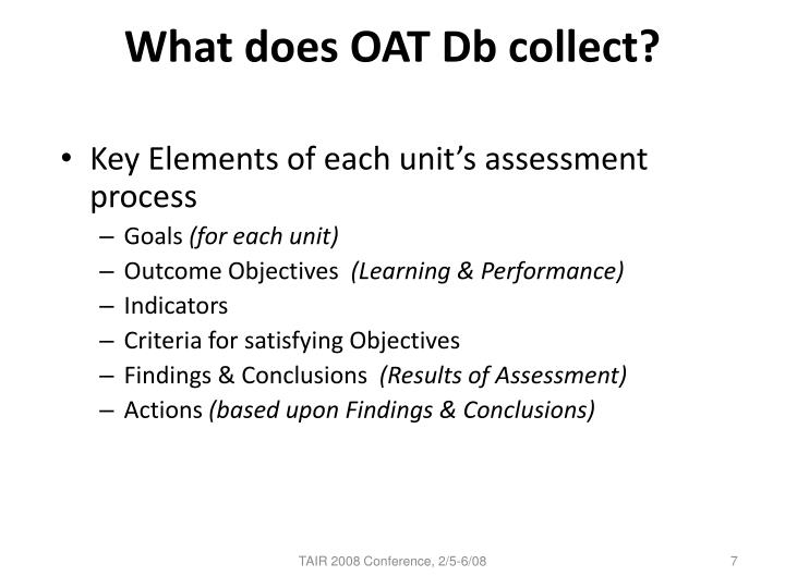 What does OAT Db collect?